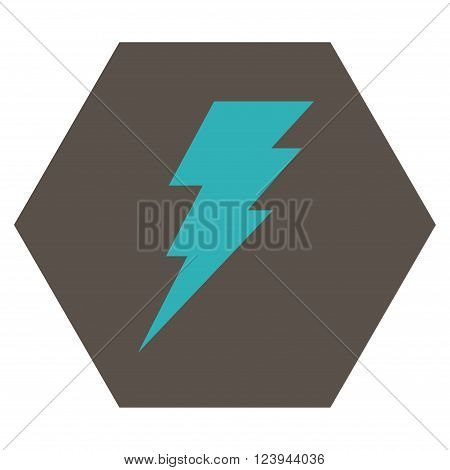 Execute vector symbol. Image style is bicolor flat execute icon symbol drawn on a hexagon with grey and cyan colors.