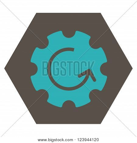 Gear Rotation vector pictogram. Image style is bicolor flat gear rotation icon symbol drawn on a hexagon with grey and cyan colors.