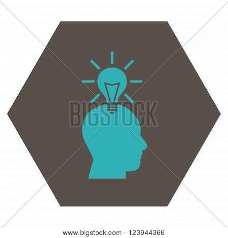 Genius Bulb vector symbol. Image style is bicolor flat genius bulb icon symbol drawn on a hexagon with grey and cyan colors.