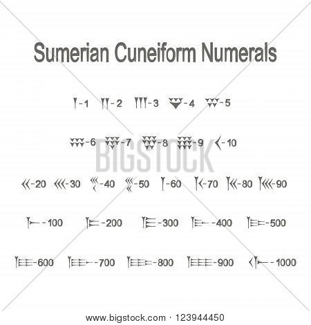 Set of monochrome icons with sumerian cuneiform numerals for your design