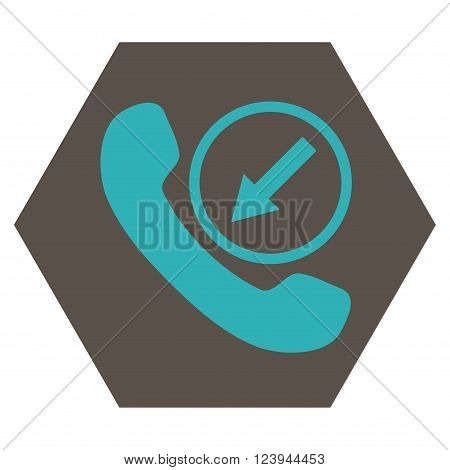 Incoming Call vector symbol. Image style is bicolor flat incoming call iconic symbol drawn on a hexagon with grey and cyan colors.