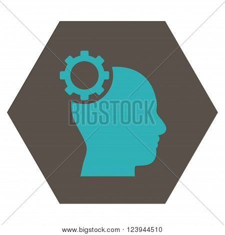 Intellect Gear vector icon symbol. Image style is bicolor flat intellect gear pictogram symbol drawn on a hexagon with grey and cyan colors.