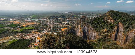 Aerial view of the valley with limestone mountains. Krabi provice of Thailand