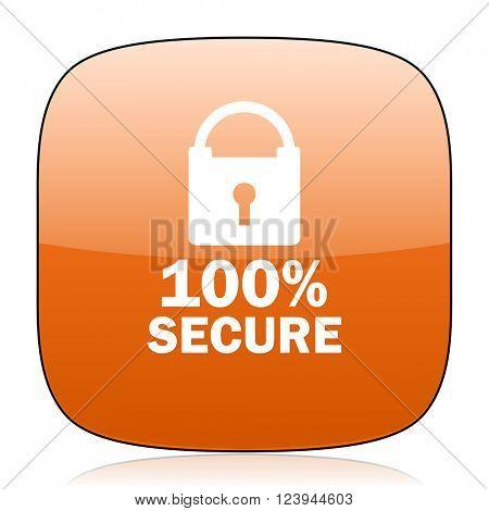 secure orange square glossy web icon