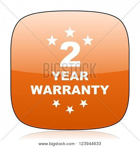 warranty guarantee 2 year orange square glossy web icon