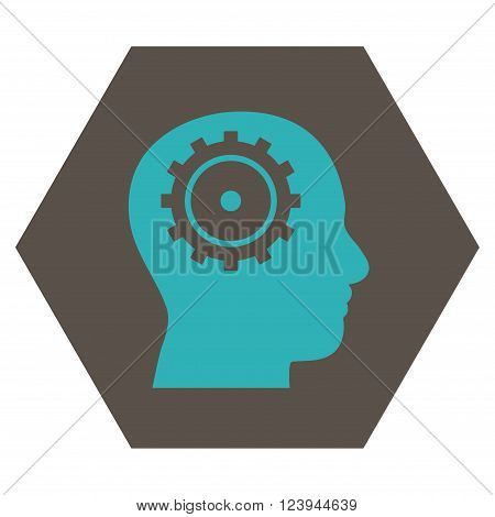 Intellect vector symbol. Image style is bicolor flat intellect pictogram symbol drawn on a hexagon with grey and cyan colors.
