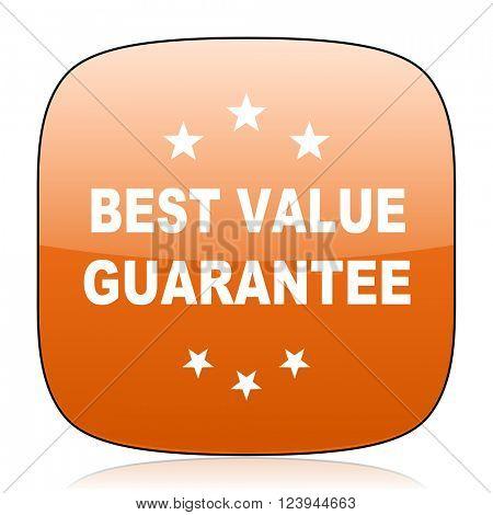 best value guarantee orange square glossy web icon