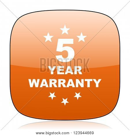 warranty guarantee 5 year orange square glossy web icon