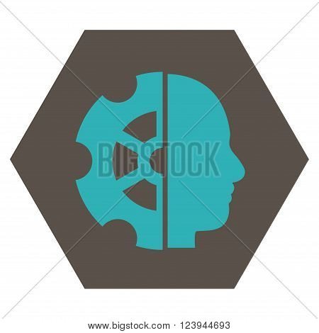 Intellect vector icon. Image style is bicolor flat intellect icon symbol drawn on a hexagon with grey and cyan colors.
