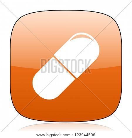 drugs orange square glossy web icon