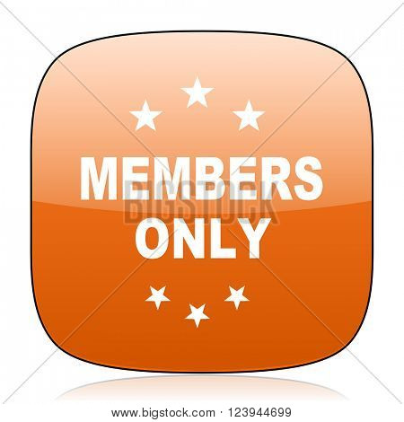 members only orange square glossy web icon