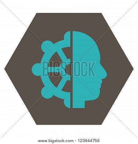 Intellect vector icon symbol. Image style is bicolor flat intellect pictogram symbol drawn on a hexagon with grey and cyan colors.