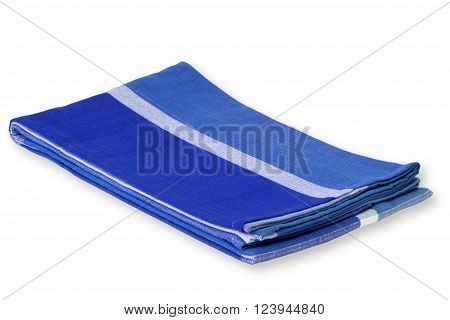 Blue tablecloth isolated on white Background. Shot in Studio