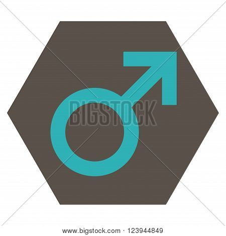 Male Symbol vector pictogram. Image style is bicolor flat male symbol icon symbol drawn on a hexagon with grey and cyan colors.