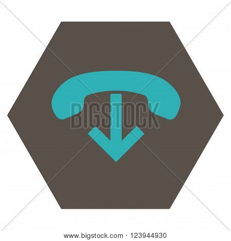 Phone Hang Up vector icon symbol. Image style is bicolor flat phone hang up pictogram symbol drawn on a hexagon with grey and cyan colors.