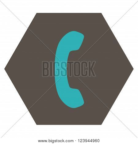 Phone Receiver vector icon symbol. Image style is bicolor flat phone receiver icon symbol drawn on a hexagon with grey and cyan colors.