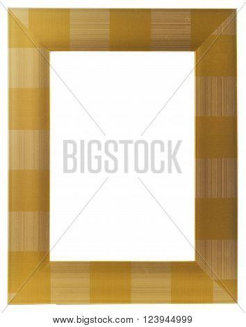 Golden Wooden Frame isolated on White background
