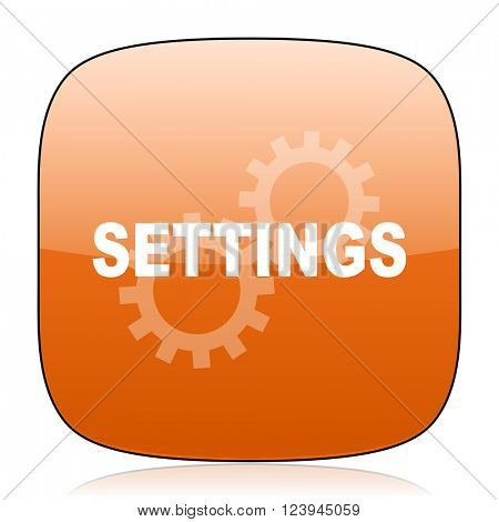 settings orange square glossy web icon