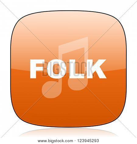 folk music orange square glossy web icon