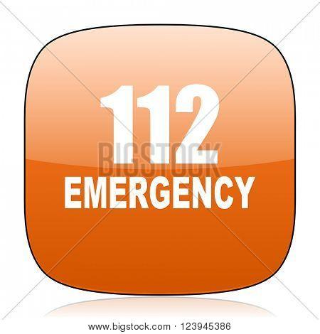 number emergency 112 orange square glossy web icon