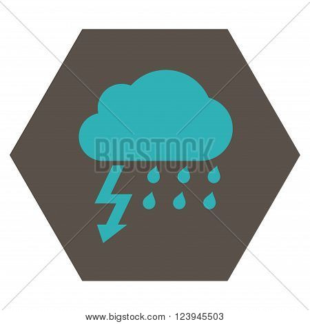 Thunderstorm vector icon symbol. Image style is bicolor flat thunderstorm iconic symbol drawn on a hexagon with grey and cyan colors.