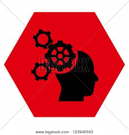 Brain Mechanics vector symbol. Image style is bicolor flat brain mechanics icon symbol drawn on a hexagon with intensive red and black colors.