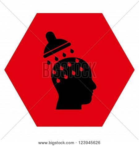 Brain Washing vector icon symbol. Image style is bicolor flat brain washing icon symbol drawn on a hexagon with intensive red and black colors.