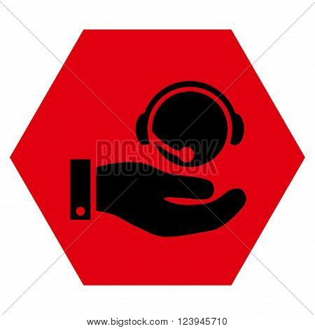 Call Center Service vector symbol. Image style is bicolor flat call center service icon symbol drawn on a hexagon with intensive red and black colors.