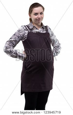 Unhappy young pregnant woman on white background