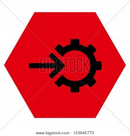 Cog Integration vector icon symbol. Image style is bicolor flat cog integration icon symbol drawn on a hexagon with intensive red and black colors.