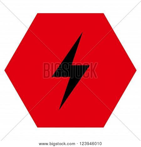 Electricity vector icon. Image style is bicolor flat electricity pictogram symbol drawn on a hexagon with intensive red and black colors.