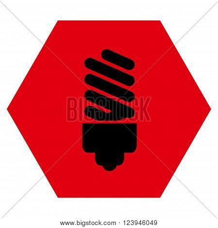 Fluorescent Bulb vector icon symbol. Image style is bicolor flat fluorescent bulb pictogram symbol drawn on a hexagon with intensive red and black colors.