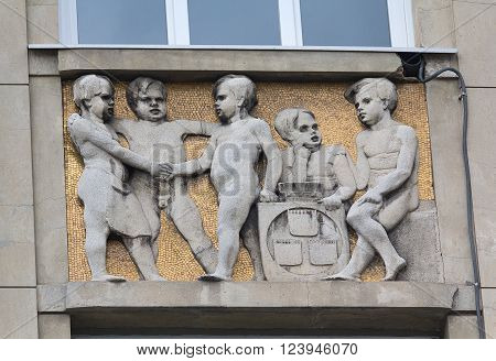 Ivano-Frankivsk, Ukraine - October 18, 2015: Bas-relief on the wall of a building on Independence Street
