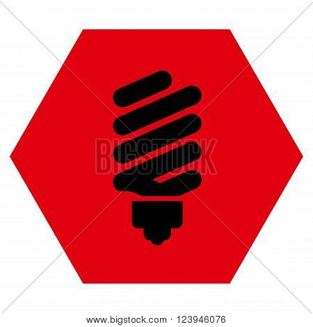 Fluorescent Bulb vector pictogram. Image style is bicolor flat fluorescent bulb iconic symbol drawn on a hexagon with intensive red and black colors.