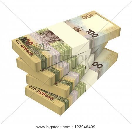 Russian ruble bills isolated on white background. 3D illustration.