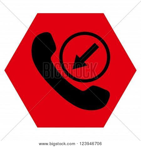 Incoming Call vector icon symbol. Image style is bicolor flat incoming call icon symbol drawn on a hexagon with intensive red and black colors.
