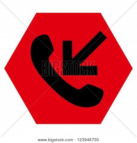 Incoming Call vector icon. Image style is bicolor flat incoming call iconic symbol drawn on a hexagon with intensive red and black colors.