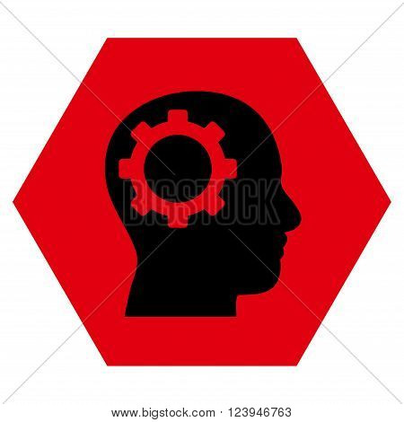 Intellect Gear vector icon. Image style is bicolor flat intellect gear pictogram symbol drawn on a hexagon with intensive red and black colors.