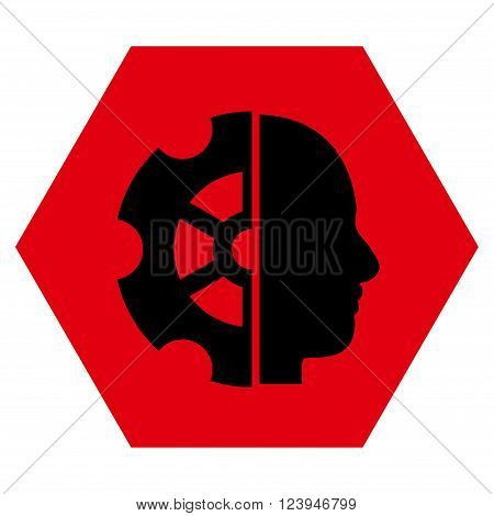 Intellect vector icon. Image style is bicolor flat intellect icon symbol drawn on a hexagon with intensive red and black colors.