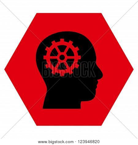 Intellect vector icon. Image style is bicolor flat intellect iconic symbol drawn on a hexagon with intensive red and black colors.