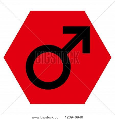 Male Symbol vector pictogram. Image style is bicolor flat male symbol icon symbol drawn on a hexagon with intensive red and black colors.