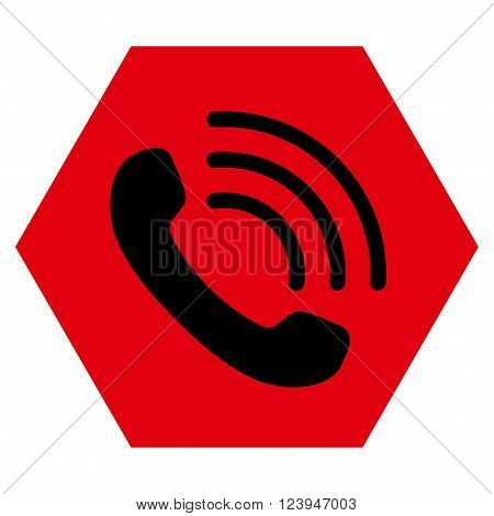 Phone Call vector icon symbol. Image style is bicolor flat phone call iconic symbol drawn on a hexagon with intensive red and black colors.
