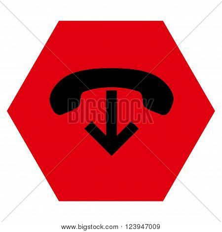 Phone Hang Up vector icon. Image style is bicolor flat phone hang up pictogram symbol drawn on a hexagon with intensive red and black colors.