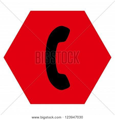 Phone Receiver vector symbol. Image style is bicolor flat phone receiver iconic symbol drawn on a hexagon with intensive red and black colors.