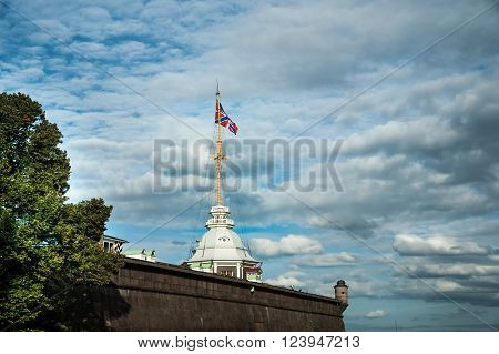 The Russian Fortress against cloudy sky at dawn, Peter and Paul fortress in Saint Petersburg, Russia.