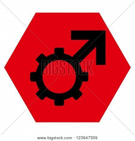 Technological Potence vector symbol. Image style is bicolor flat technological potence iconic symbol drawn on a hexagon with intensive red and black colors.