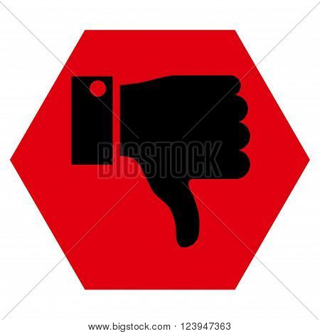 Thumb Down vector symbol. Image style is bicolor flat thumb down icon symbol drawn on a hexagon with intensive red and black colors.
