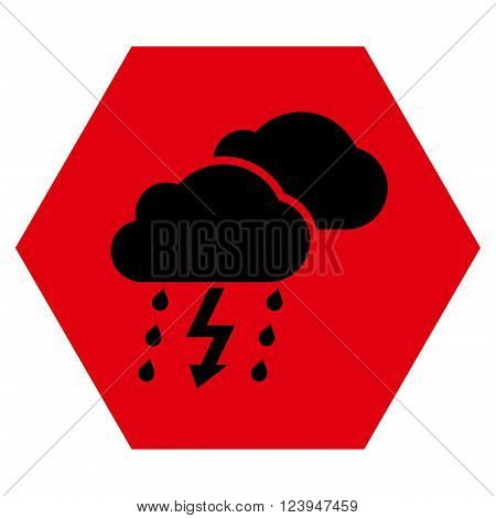 Thunderstorm vector icon. Image style is bicolor flat thunderstorm iconic symbol drawn on a hexagon with intensive red and black colors.