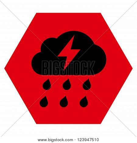 Thunderstorm vector symbol. Image style is bicolor flat thunderstorm pictogram symbol drawn on a hexagon with intensive red and black colors.