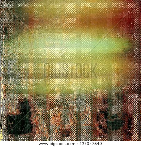 Ancient texture or damaged old style background with vintage grungy design elements and different color patterns: yellow (beige); brown; green; red (orange); gray